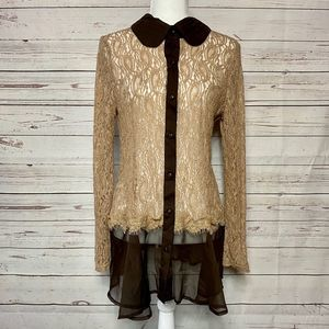 A'Reve Anthropologie Lace Button Up Tunic Tan L